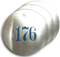 Our Aluminum Metal Tags are available consecutively numbered or we can make custom tags to suit your needs.