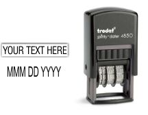 Customize your Trodat Printy 4850 Dater 7/8 in. x 3/16 in.  This small versatile date stamp is great for stamping in small spaces. Use it for RECEIVED, PAID, ENTERED, Invoiced, etc.